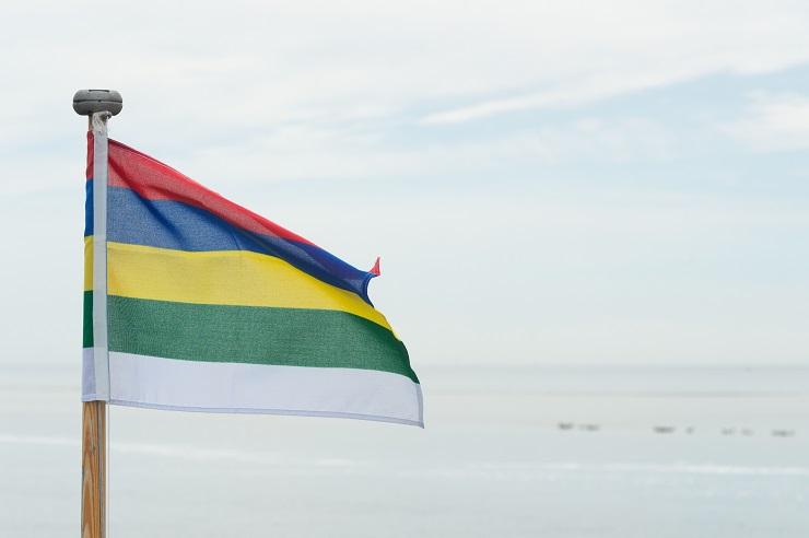 Flag Dutch wadden island Terschelling at the sea